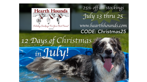 Christmas in July for Hearth Hounds, creators of unique dog Christmas stockings