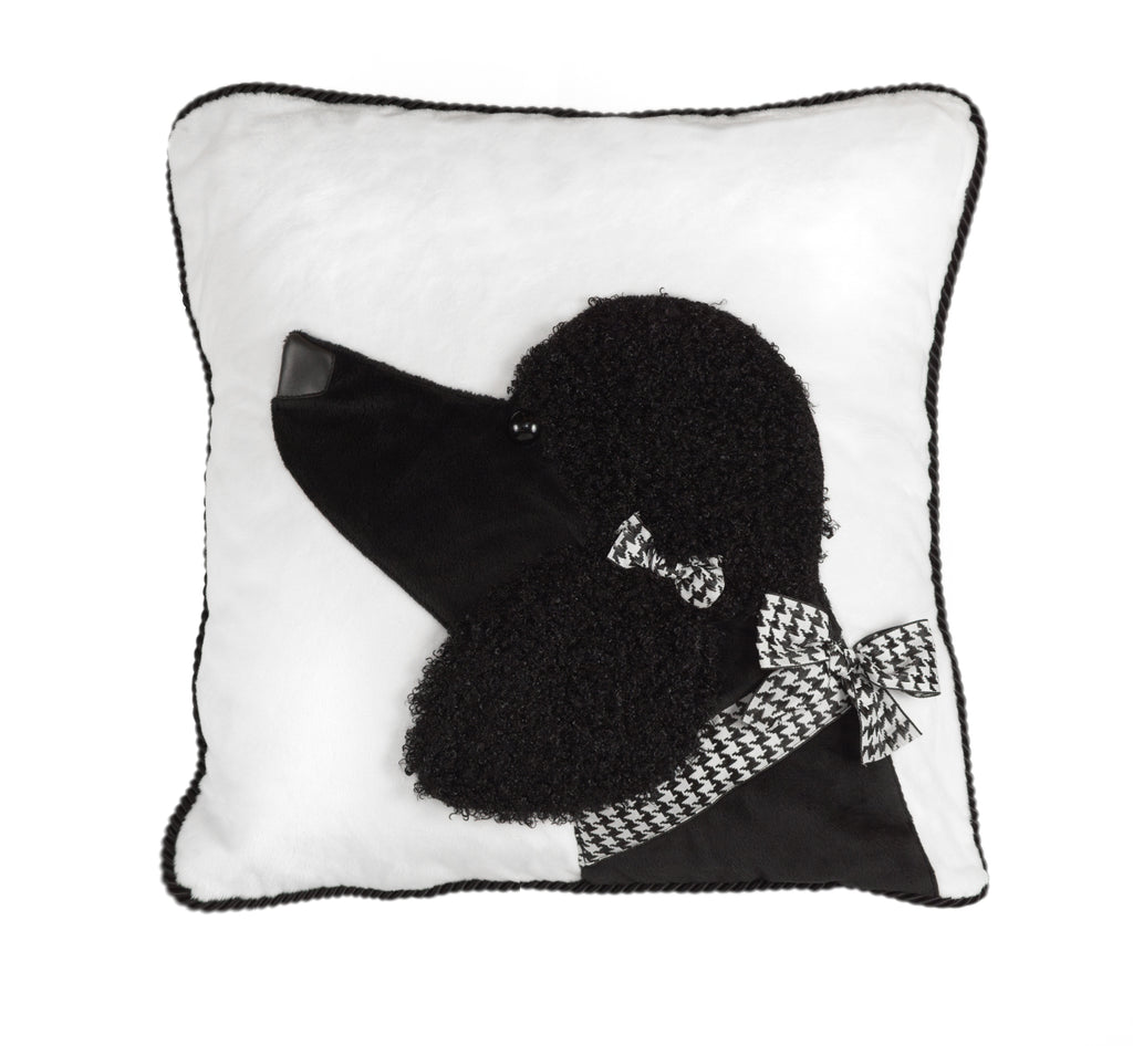 Black Poodle Decorative Pillow Case