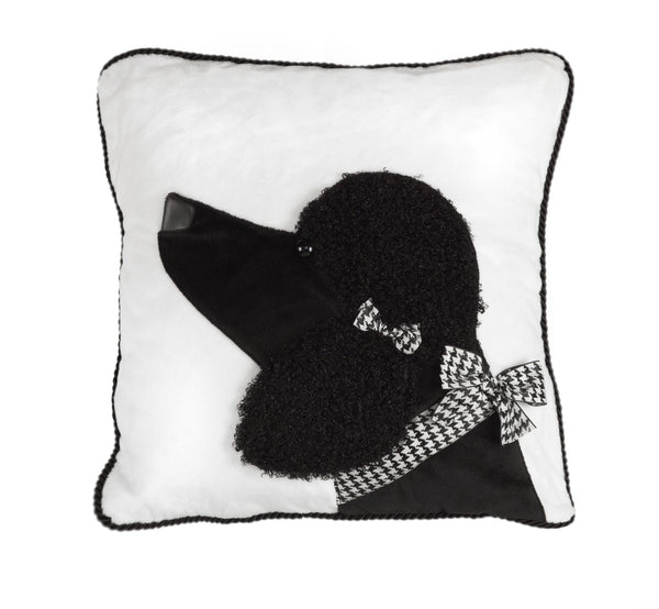 Black Poodle Decorative Pillow