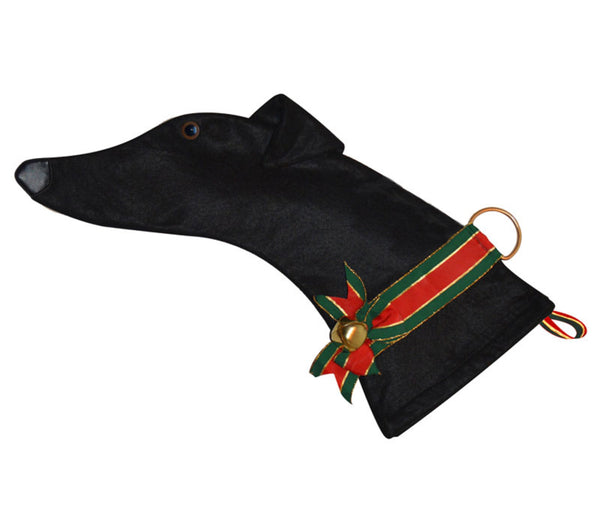 This Greyhound dog shaped Christmas stocking is perfect for stuffing toys and treats into to spoil your fur baby for Christmas, or whatever holiday you celebrate!