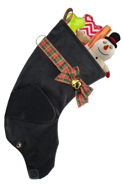 This Black Lab shaped Christmas dog stocking is perfect for stuffing toys and treats into to spoil your fur baby for Christmas, or whatever holiday you celebrate!
