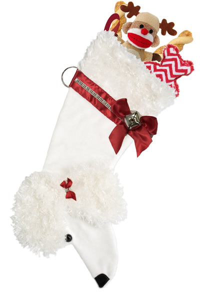 This White Poodle shaped Christmas dog stocking is the perfect gift for stuffing toys and treats into to spoil your fur baby for Christmas, or whatever holiday you celebrate!