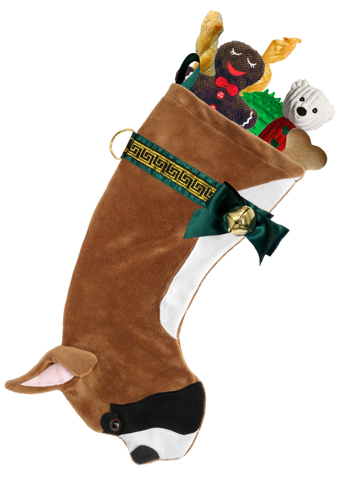 This Boxer dog shaped Christmas stocking is the perfect gift for stuffing toys and treats into to spoil your fur baby for Christmas, or whatever holiday you celebrate!