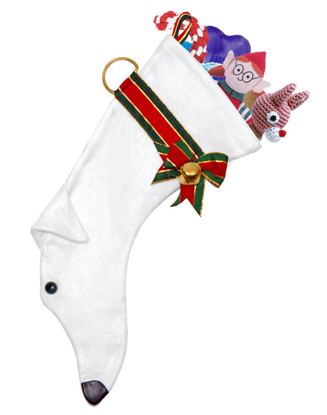 This White Greyhound dog Christmas stocking is perfect for stuffing toys and treats into to spoil your fur baby for Christmas, or whatever holiday you celebrate!