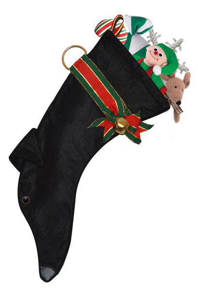 This Greyhound shaped Christmas dog stocking is perfect for stuffing toys and treats into to spoil your fur baby for Christmas, or whatever holiday you celebrate!
