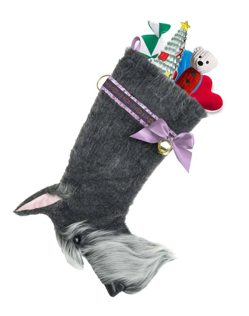 This Schnauzer shaped Christmas dog stocking is the perfect gift for stuffing toys and treats into to spoil your fur baby for Christmas, or whatever holiday you celebrate!