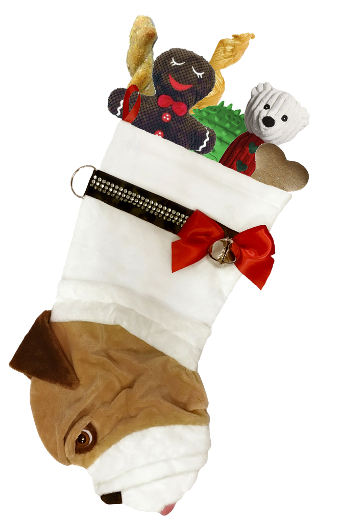 This English Bulldog dog Christmas stocking is perfect for stuffing toys and treats into to spoil your fur baby for Christmas, or whatever holiday you celebrate!