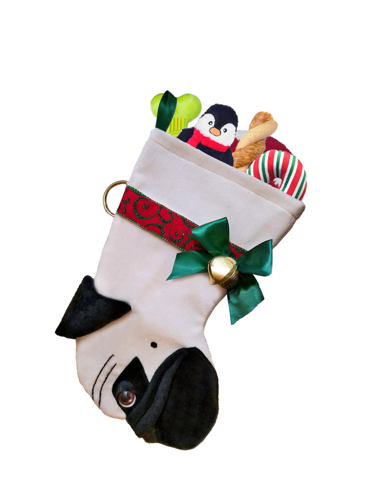 This Pug shaped dog Christmas stocking is the perfect gift for stuffing toys and treats into to spoil your fur baby for Christmas, or whatever holiday you celebrate!