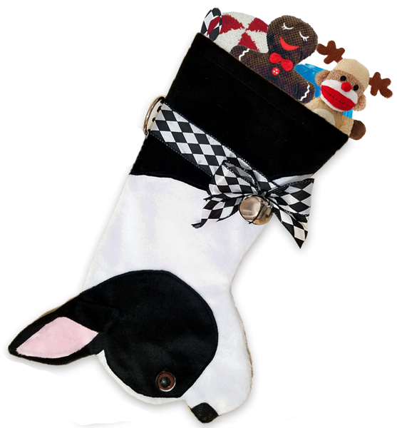 This Boston Terrier shaped Christmas dog stocking is the perfect gift for stuffing toys and treats into to spoil your fur baby for Christmas, or whatever holiday you celebrate!
