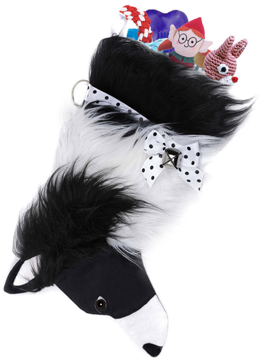 This Border Collie shaped dog Christmas stocking is perfect for stuffing toys and treats into to spoil your fur baby for Christmas, or whatever holiday you celebrate!