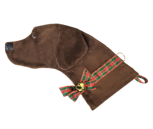 This Chocolate Lab shaped dog Christmas stocking is perfect for stuffing toys and treats into to spoil your fur baby for Christmas, or whatever holiday you celebrate!