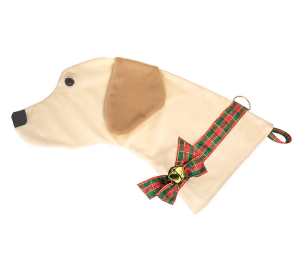 This Yellow Lab shaped dog Christmas stocking is the perfect gift for stuffing toys and treats into to spoil your fur baby for Christmas, or whatever holiday you celebrate!