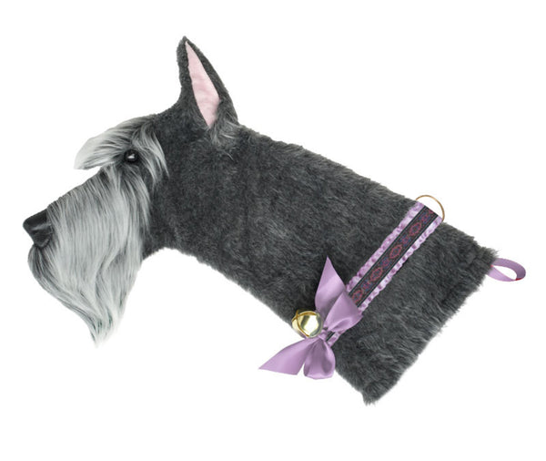 This Schnauzer shaped dog Christmas stocking is the perfect gift for stuffing toys and treats into to spoil your fur baby for Christmas, or whatever holiday you celebrate!