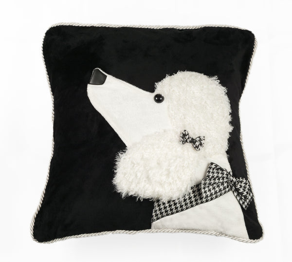 White Poodle Decorative Pillow