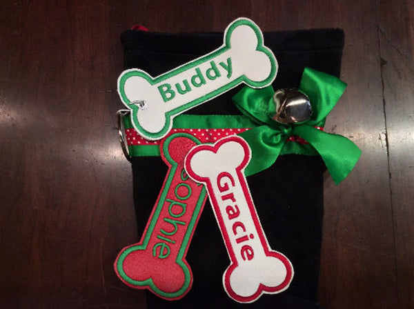 BABarker Gifts creates custom dog bone name tags for Black and Tan Dachshund Hearth Hounds stockings!