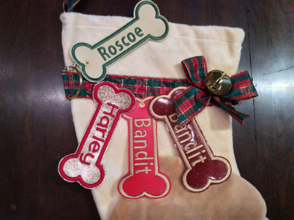 BABarker Gifts creates custom dog bone name tags for Yellow Labrador retriever Hearth Hounds stockings!