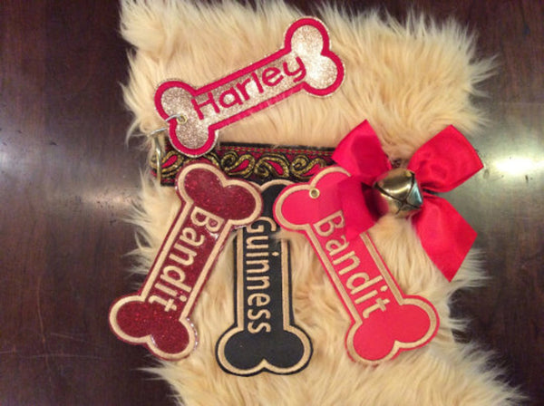 BABarker Gifts creates custom dog bone name tags for Golden Retriever Hearth Hounds stockings!