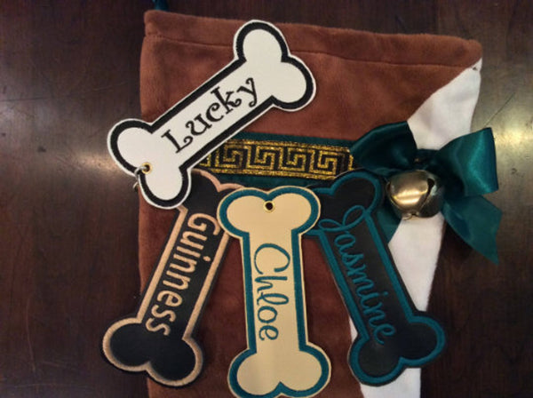 BABarker Gifts creates custom dog bone name tags for Boxer Hearth Hounds stockings!
