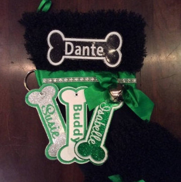BABarker Gifts creates custom dog bone name tags for Black Poodle Hearth Hounds stockings!