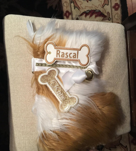 BABarker Gifts creates custom dog bone name tags for Cavalier King Charles Hearth Hounds stockings!