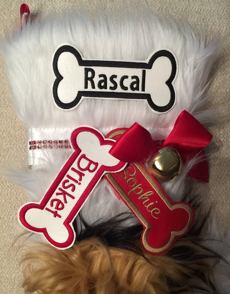 BABarker Gifts creates custom dog bone name tags for Shih Tzu Hearth Hounds stockings!