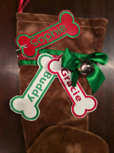 BABarker Gifts creates custom dog bone name tags for Red Dachshund Hearth Hounds stockings!