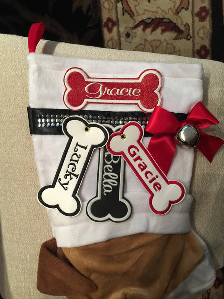 BABarker Gifts creates custom dog bone name tags for English Bulldog Hearth Hounds stockings!
