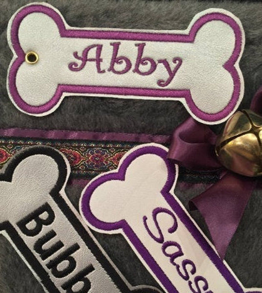 BABarker Gifts creates custom dog bone name tags for Schnauzer Hearth Hounds stockings!