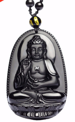 Hand Carved Natural Black Obsidian (Lava Rock) Buddha Necklace Mala and Pendant