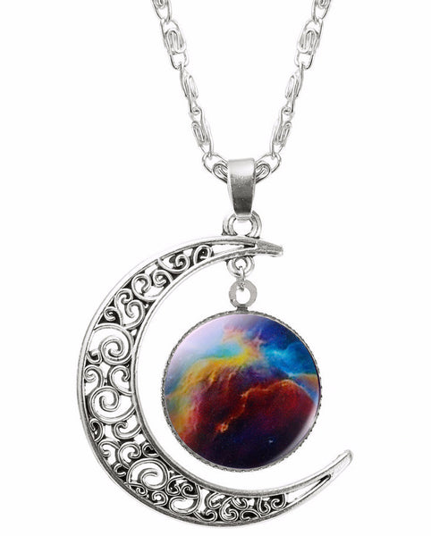 Moon Galaxy Pendant and Chain Necklace