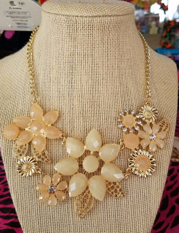 Statement Gold Plate Flower Necklace