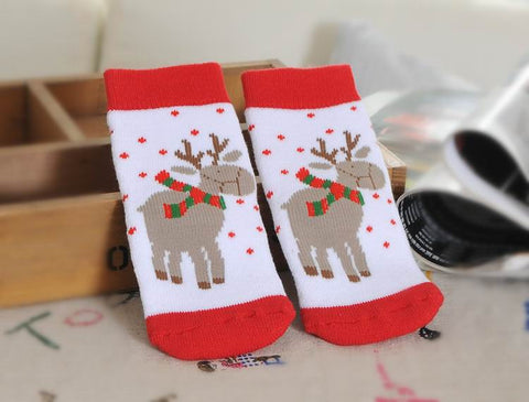 Christmas Themed Pure Cotton Jacquard Socks for Children