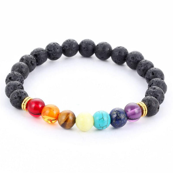 Black Lava 7 Chakra Alignment Bracelet For Men and Women