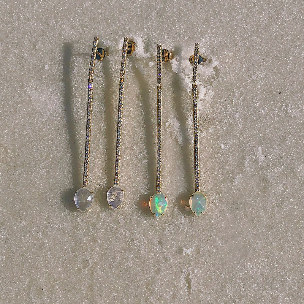 Long Diamond + Opal Bar Earrings