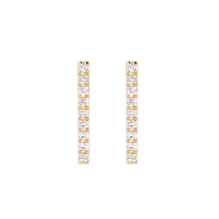 Small Diamond Bar Stud Earrings