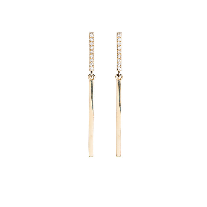 Medium Diamond + Gold Bar Earrings