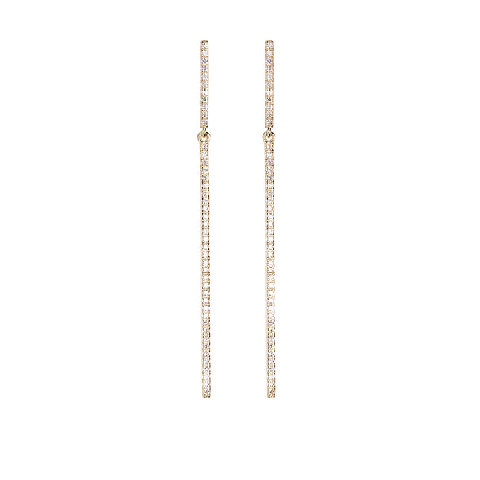 Long Diamond Bar Earrings