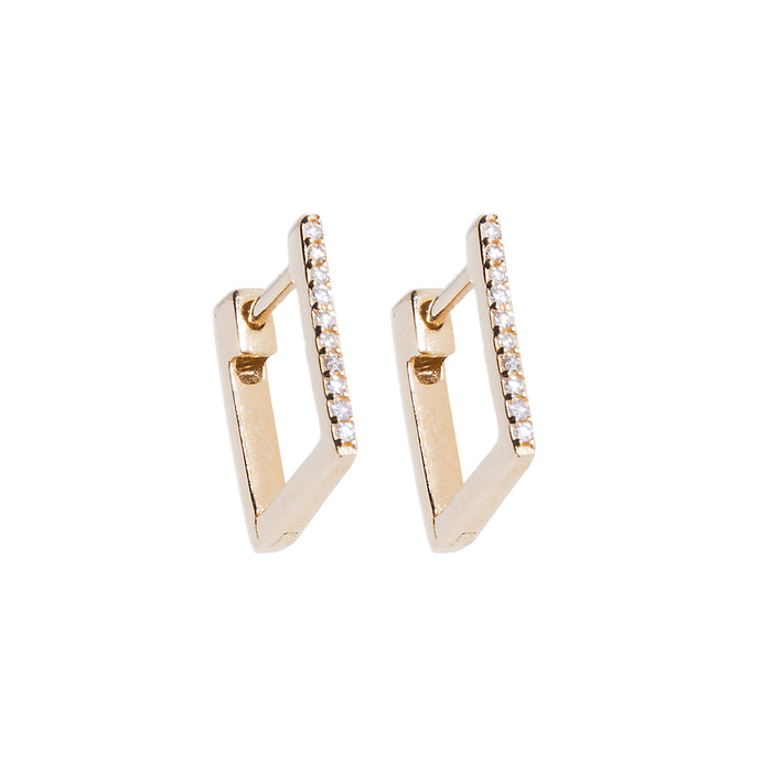 Diamond Bar Huggie Earring