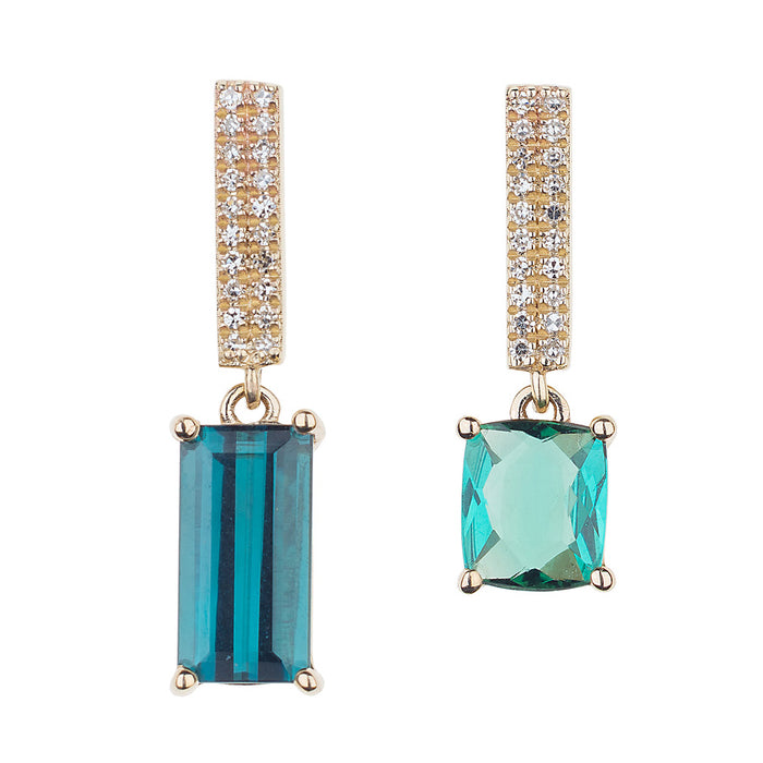 One of a Kind Bicolor Blue Green Tourmaline Diamond Candy Bar Earrings
