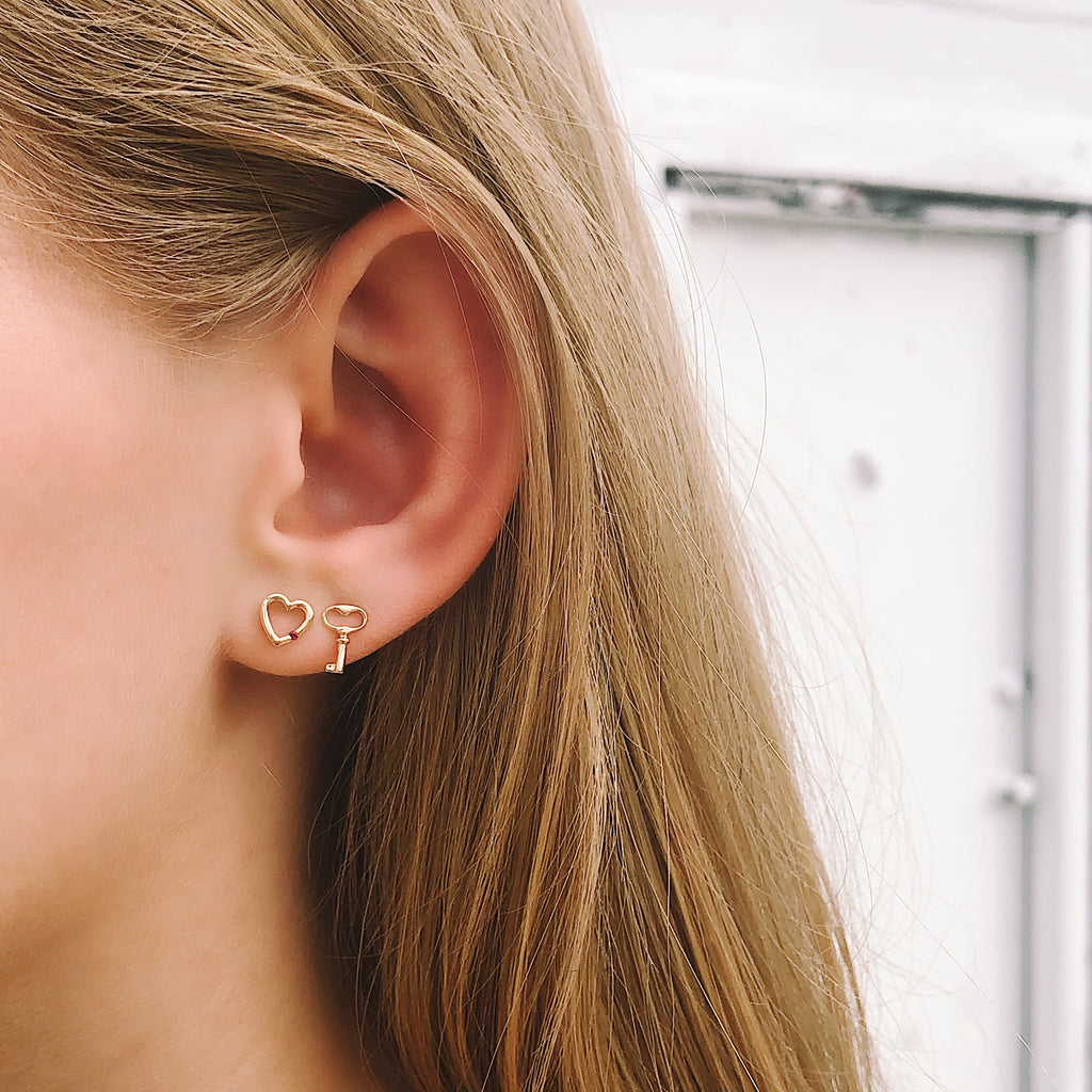 Tiny Gold Key Stud Earring