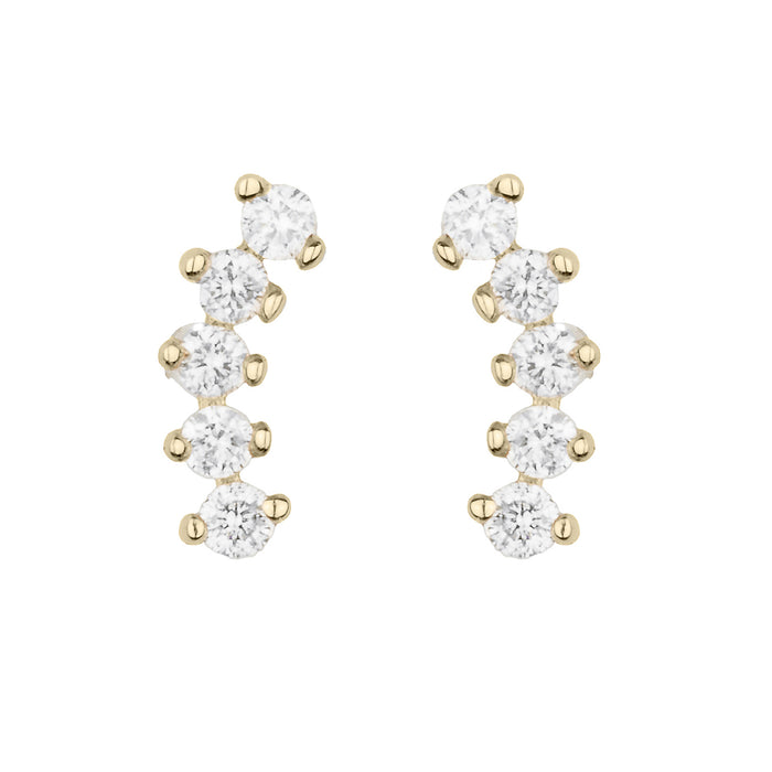 Five Diamond Curve Stud Earring