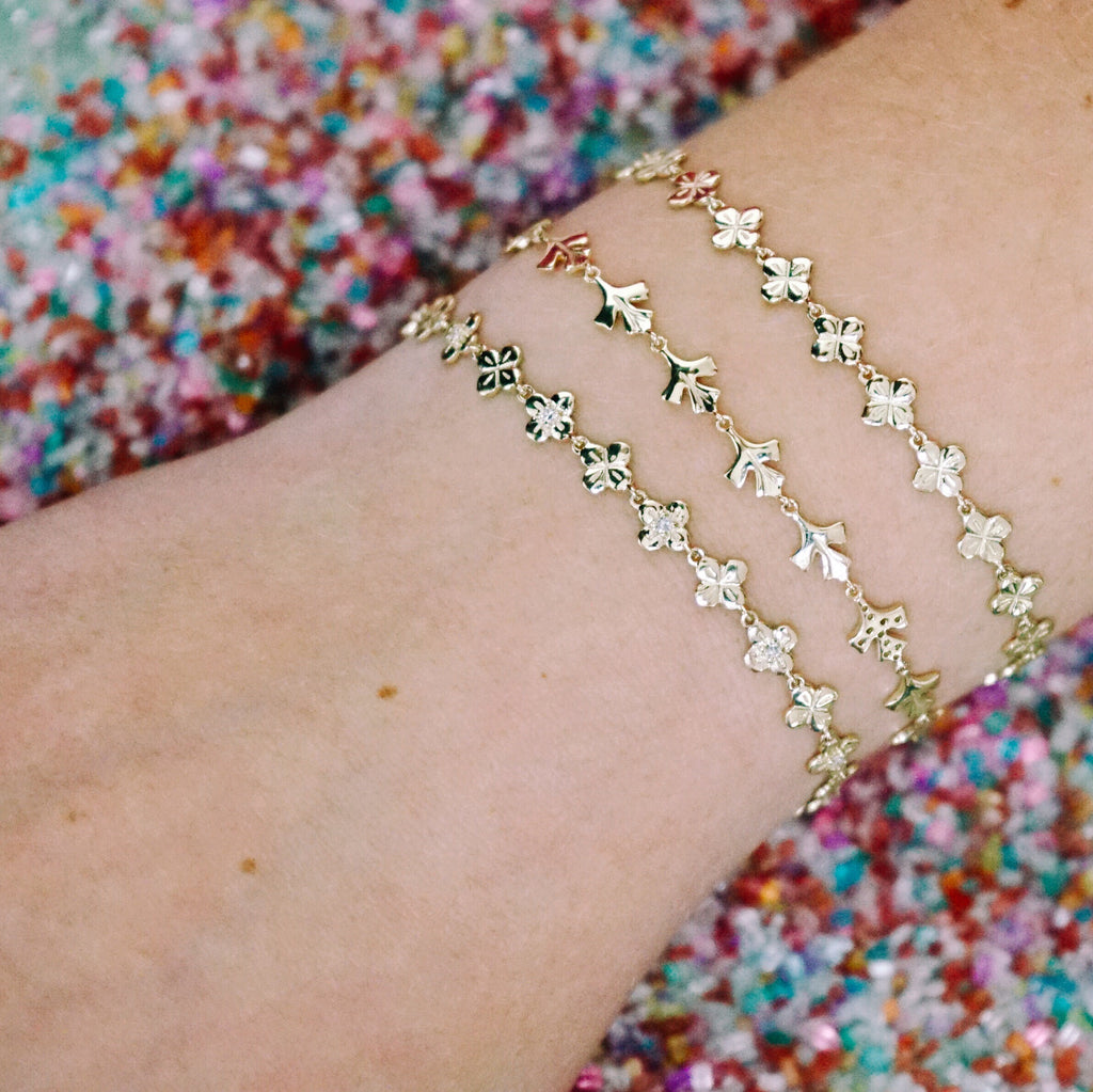 Bloom Link Bracelet with White Diamonds
