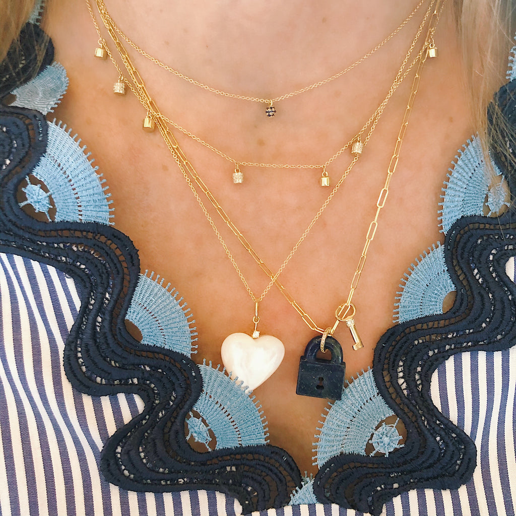 Large Mabe Pearl Heart and Diamond Charm