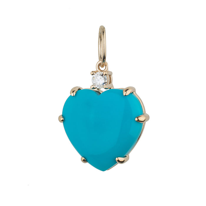 Large Sleeping Beauty Turquoise Heart and Diamond Charm