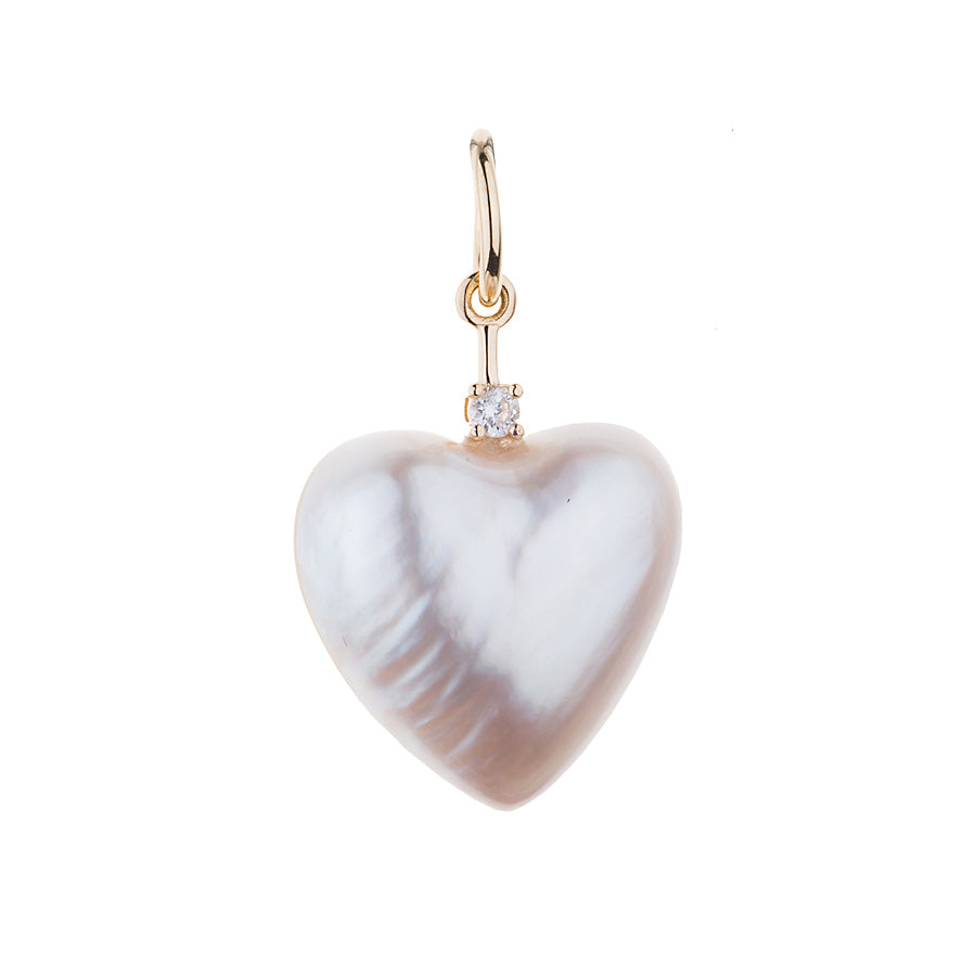 Mabe Pearl Heart and Diamond Charm