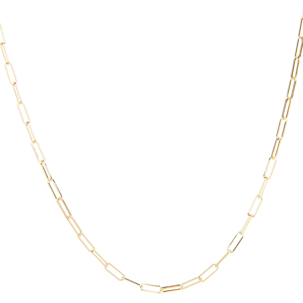 Medium Elongated Paperclip Chain 20""