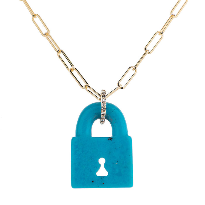 Arizona Turquoise Pad Lock Necklace on Link Chain