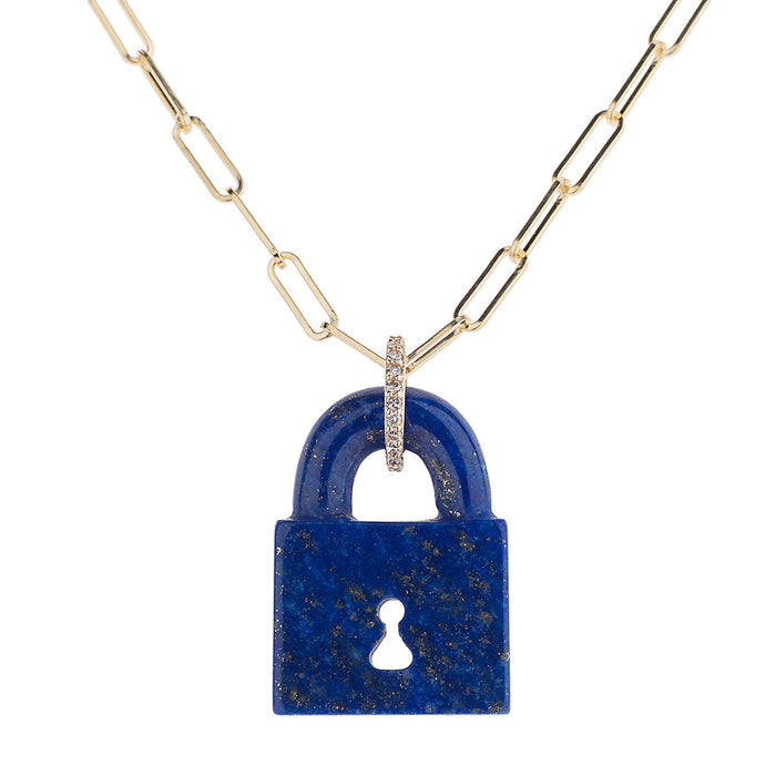 Lapis Pad Lock Necklace on Link Chain