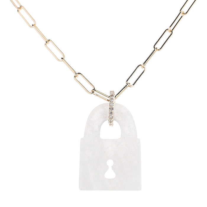 Rainbow Moonstone Pad Lock Necklace on Link Chain
