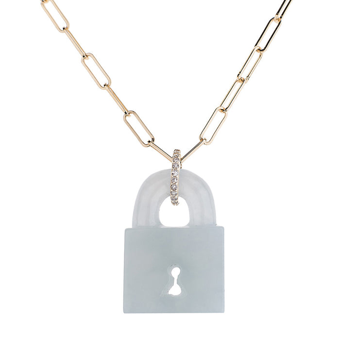 Jade Pad Lock Necklace on Link Chain